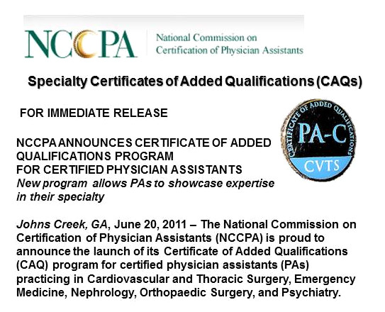 Certificate of Added Qualifications - Physician Assistant History ...
